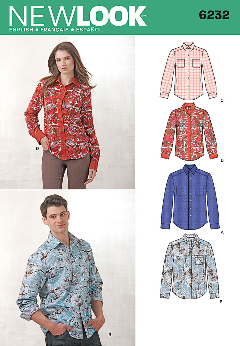 New Look 6232 Misses 39 And Men 39 S Button Down Shirt