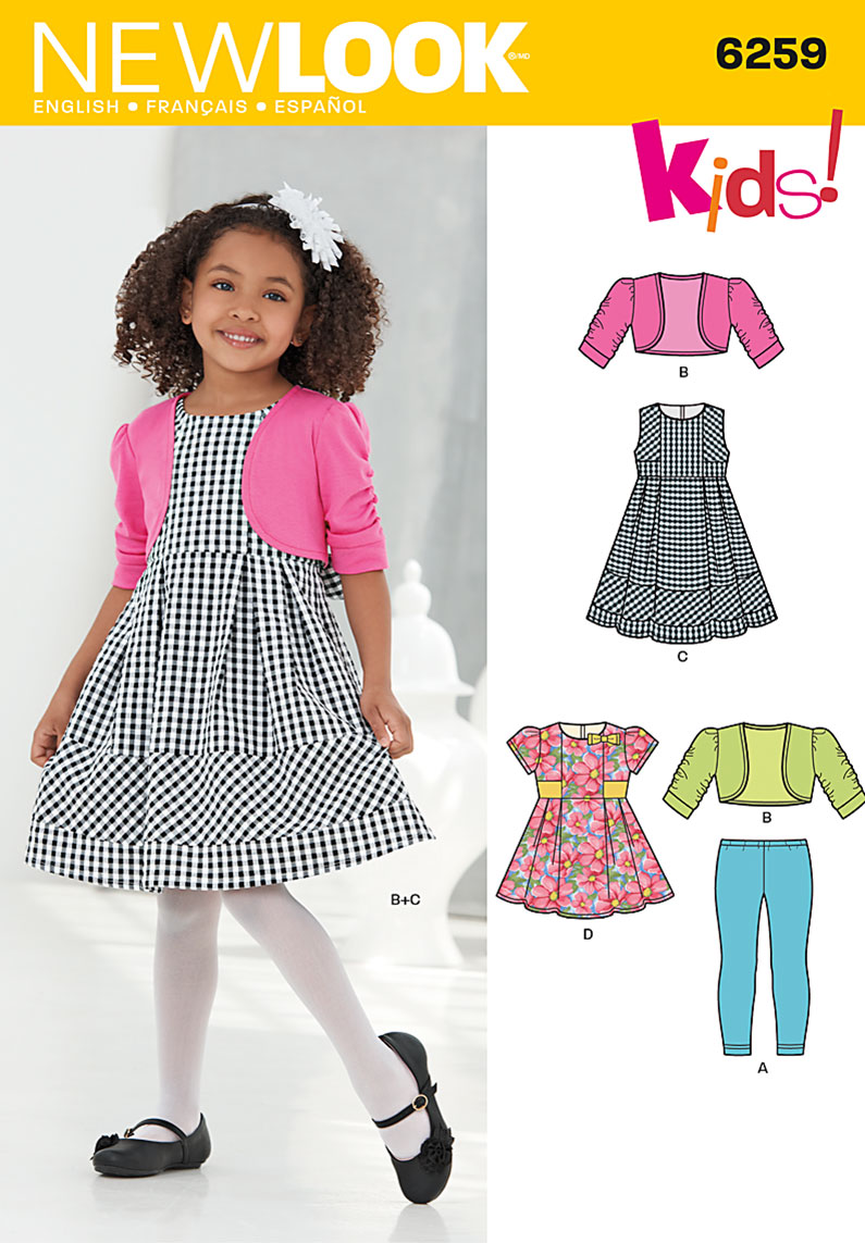 New Look 6259 Child\'s Dress or Top, Knit Leggings and Bolero