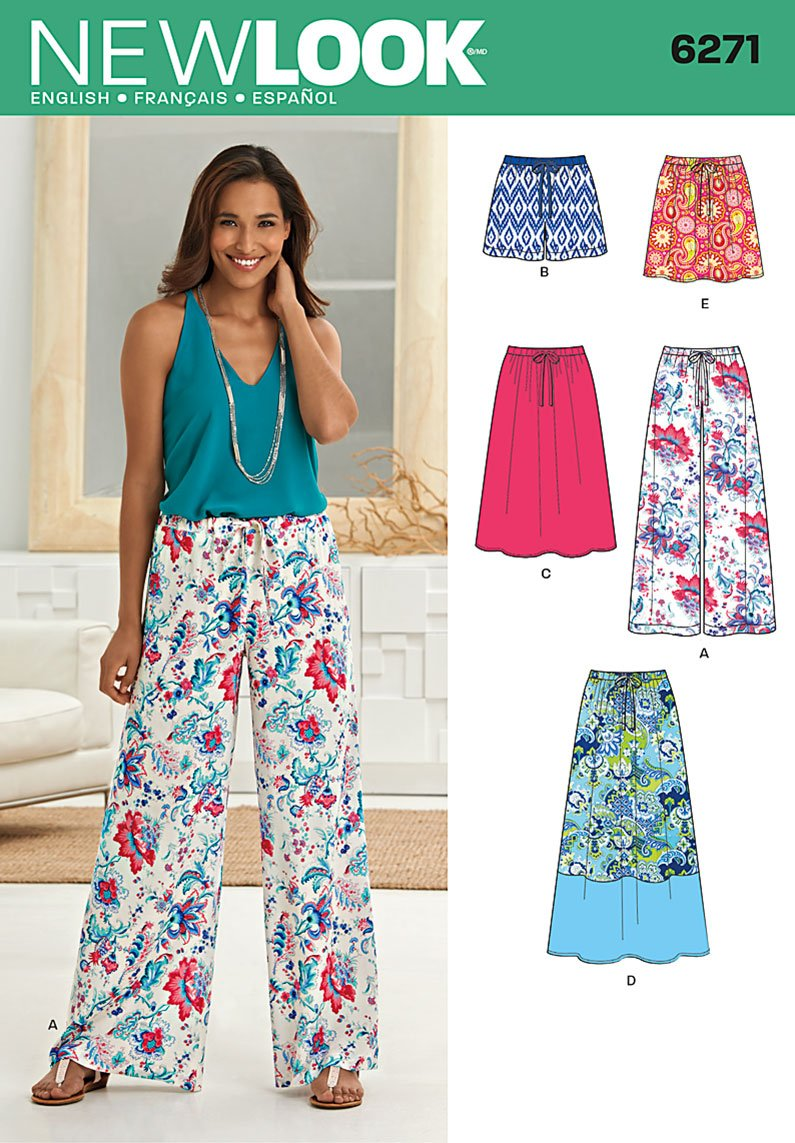 New Look 6271 Misses Skirt In Three Lengths And Pants Or