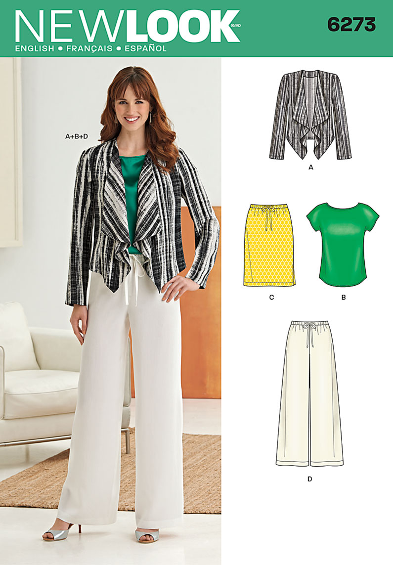 New Look 6273 Misses' Jacket, Top, Pants and Skirt