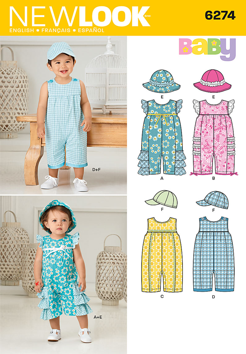 New Look 6274 Babies' Romper and Hats