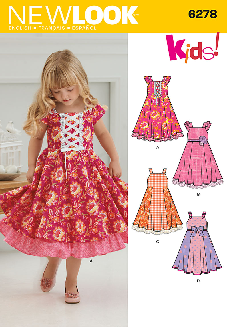 New Look 6278 Child\'s Dress with Trim Variations