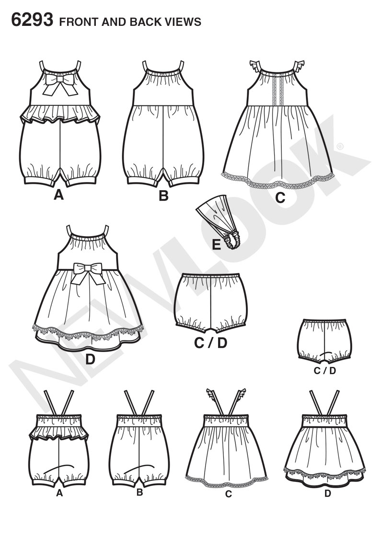 New look 6293 babies romper dress panties and headband prevnext jeuxipadfo Gallery