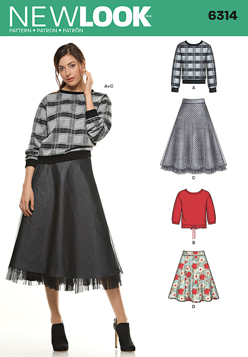 New Look 6314 Misses' Skirt in Two Lengths with Knit Tops