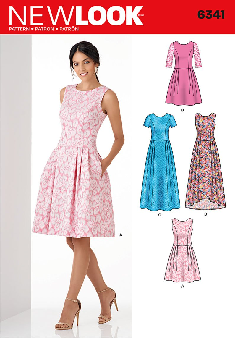 Patterns new look dresses 6341 misses dress in three lengths new look
