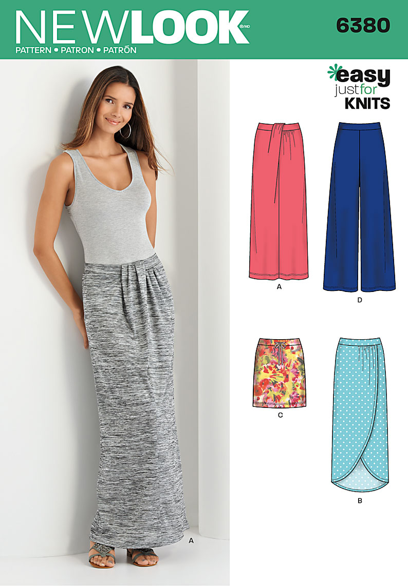 New Look 6380 Misses\' Knit Skirts and Pants
