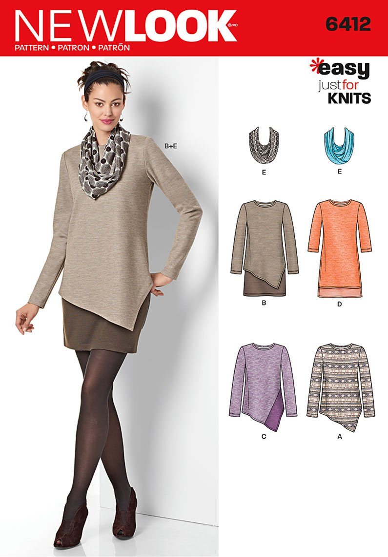 Sewing Patterns For Knits : New Look 6412 Misses Tunics and Dresses