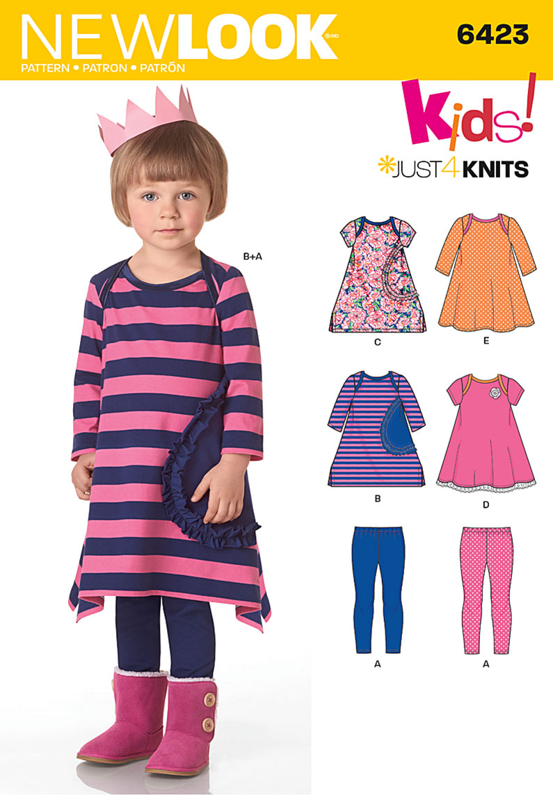 New Look 6423 Toddlers\' Knit Dresses and Leggings