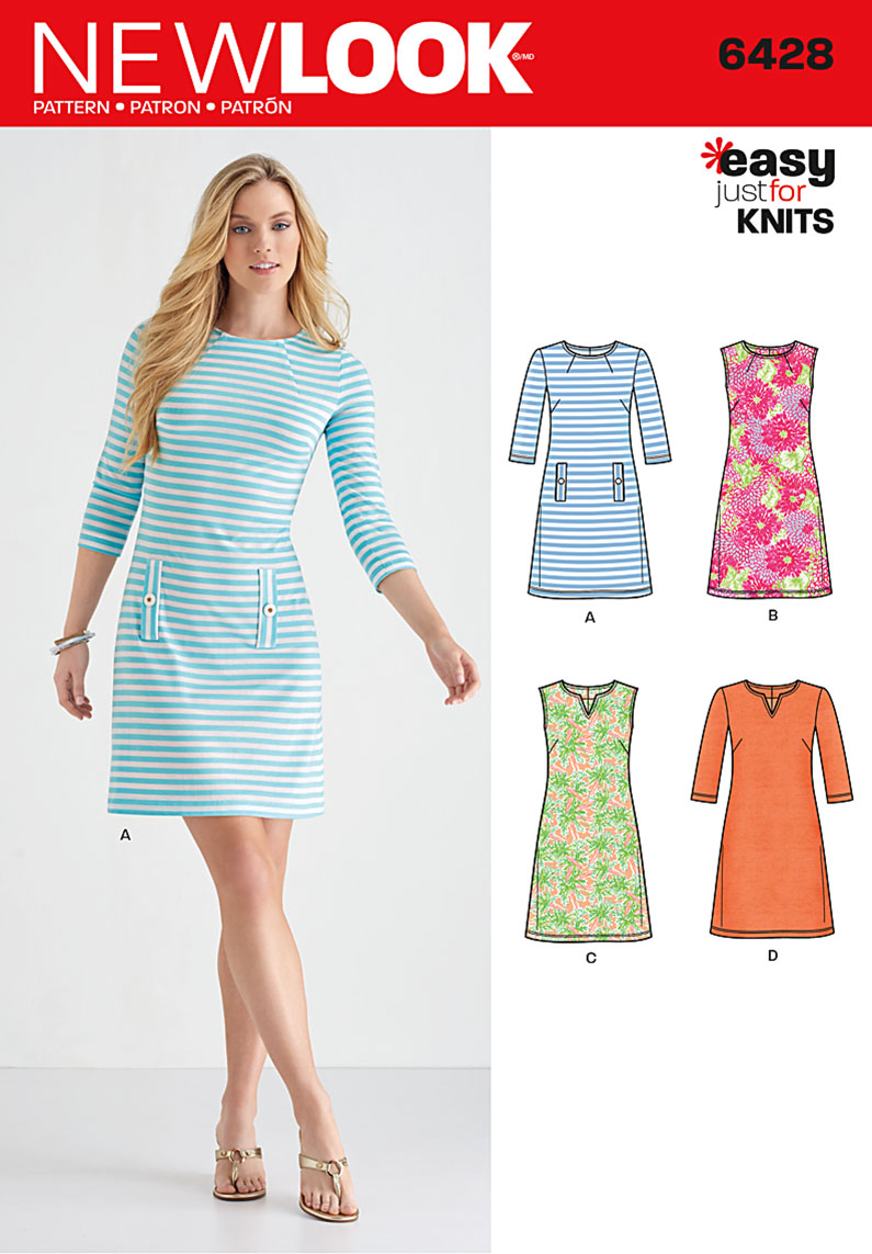 Knit Dress Sewing Pattern : New Look 6428 Misses Knit Dresses