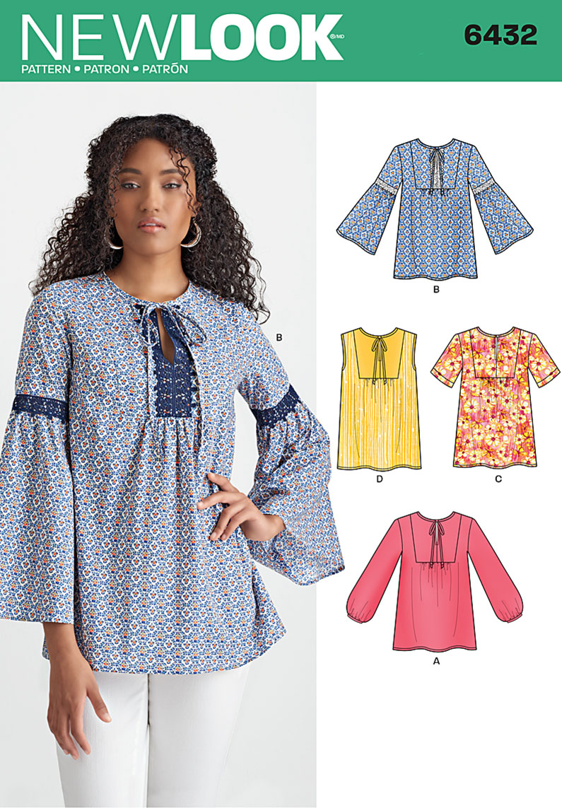 New Look 6432 Misses' Blouses with Sleeve and Trim Variations