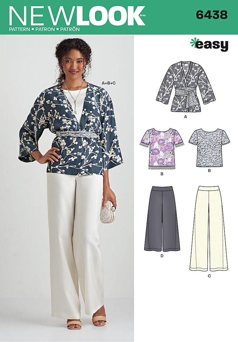 New Look 6438 Misses' Easy Pants, Kimono, and Top