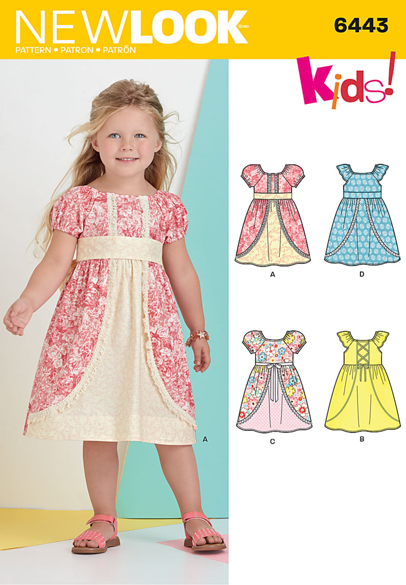 New look 6443 child 39 s dress with fabric and trim variations for Childrens dress fabric