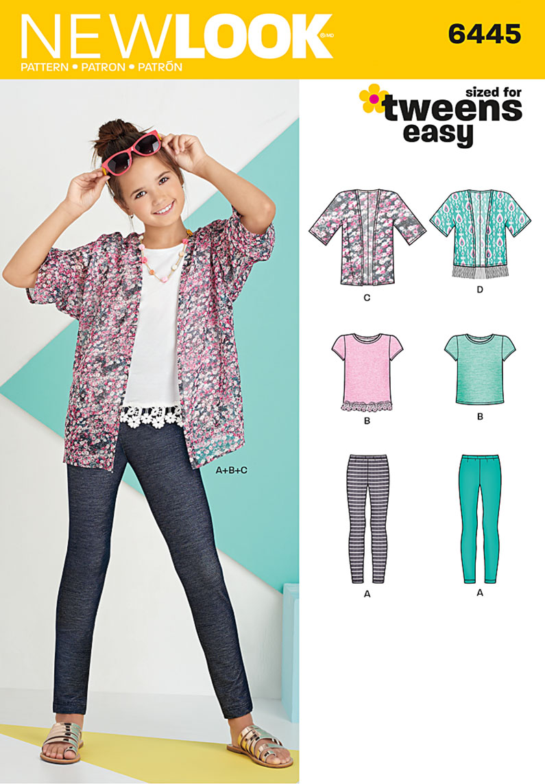 New Look 6445 Easy Girl\'s Kimono, Knit Top and Leggings