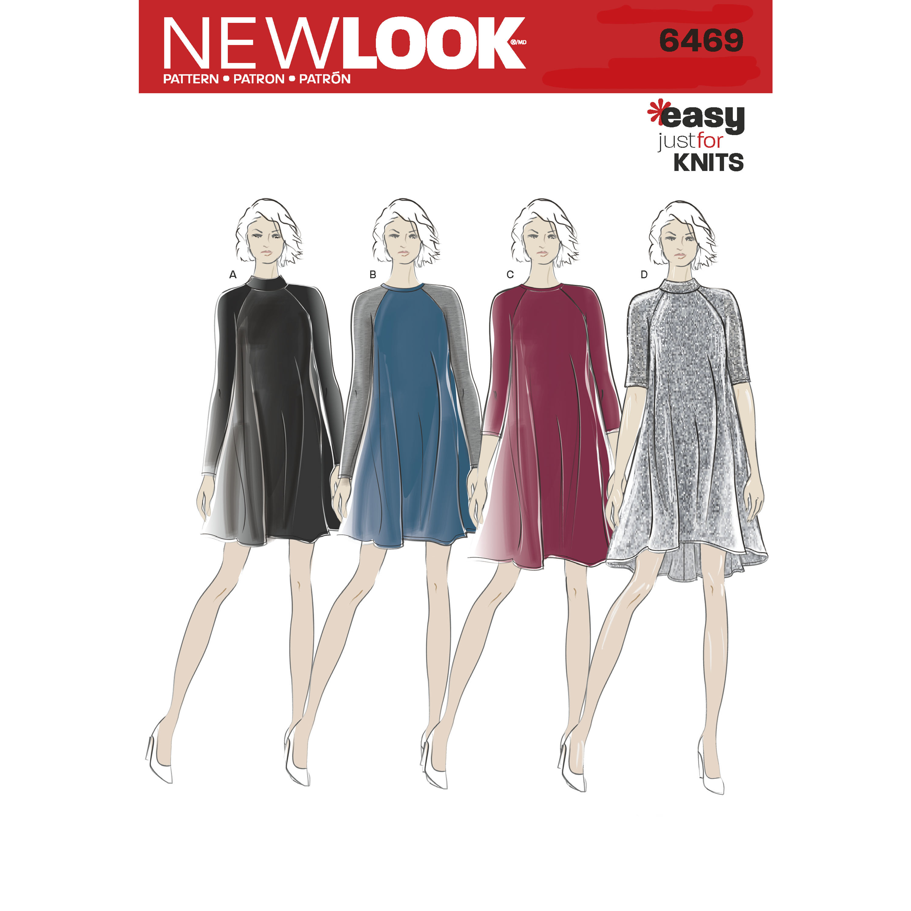 New Look 6469 Misses\' Easy Knit Dress with Length and Sleeve Variations