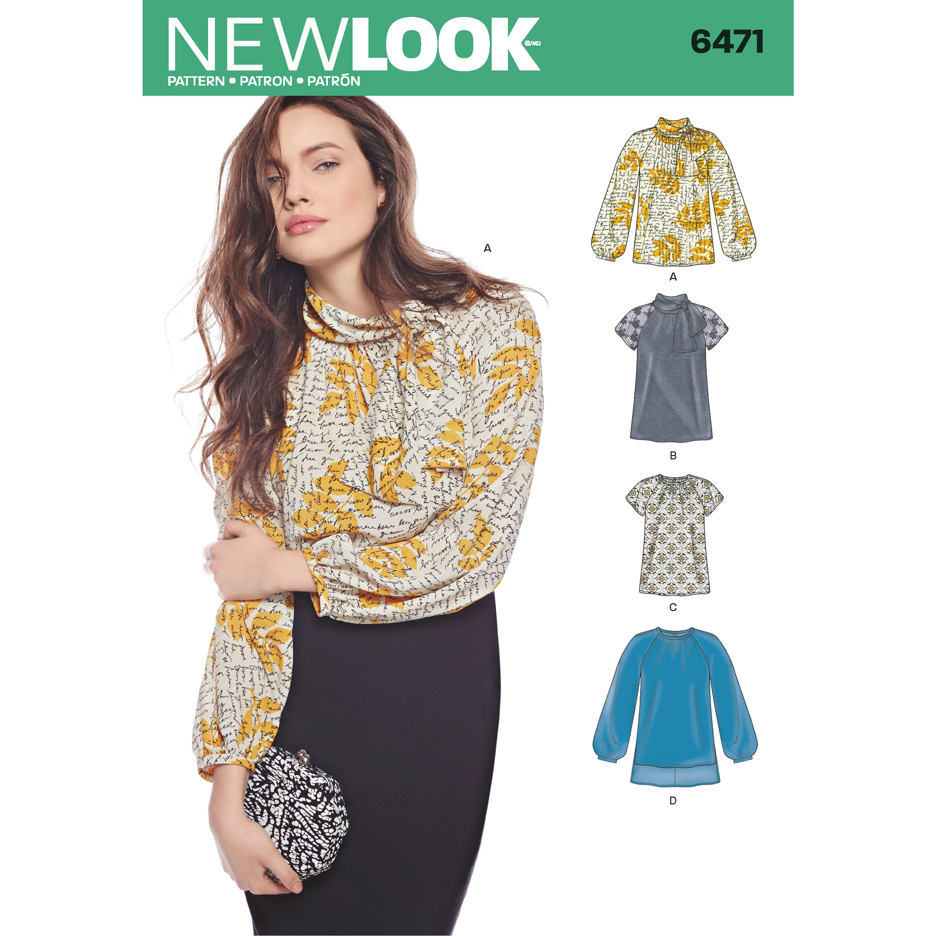 New Look 6471 Misses' Blouses and Tunic with Neckline Variations
