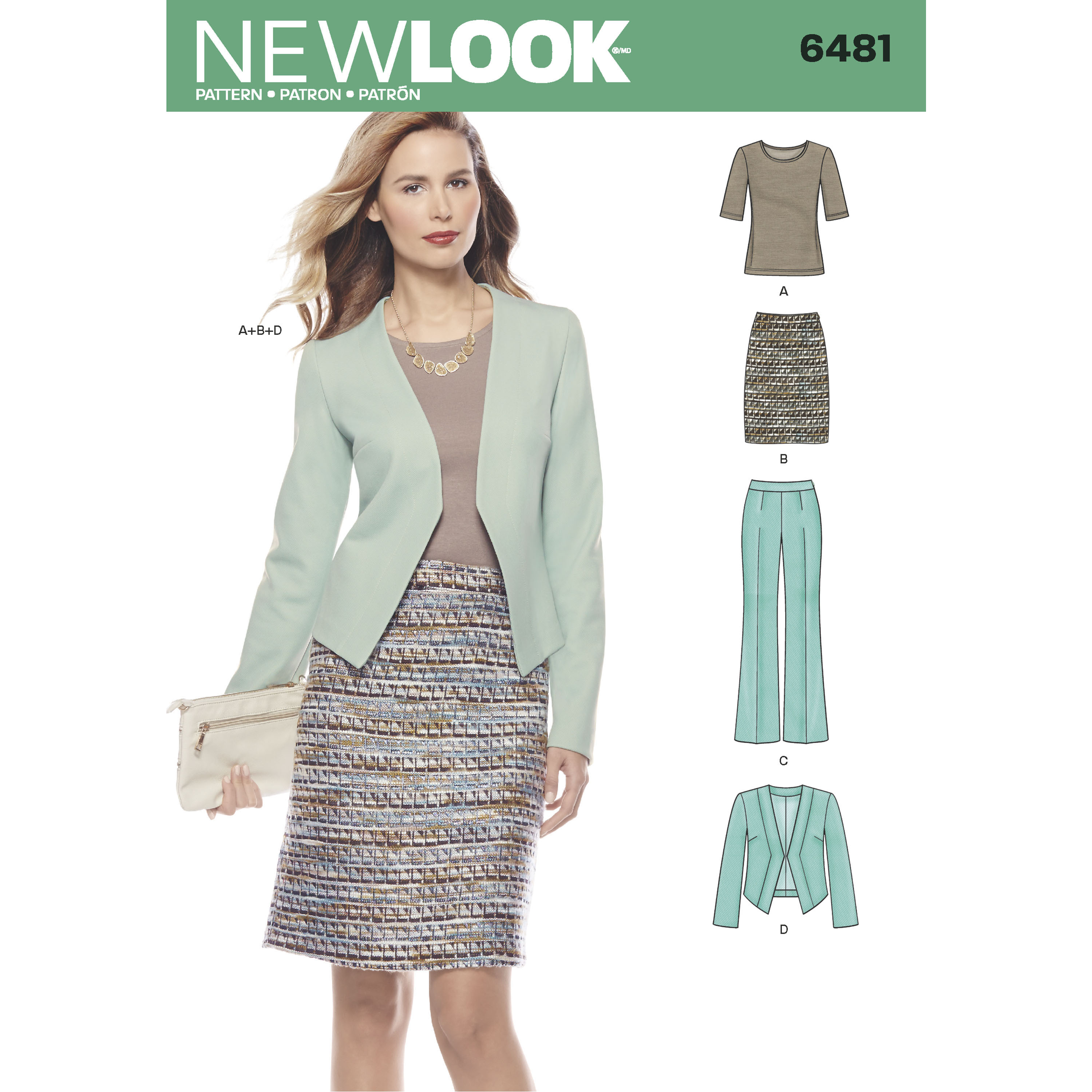 New Look 6481 Misses Skirt Pants Jacket And Knit Top