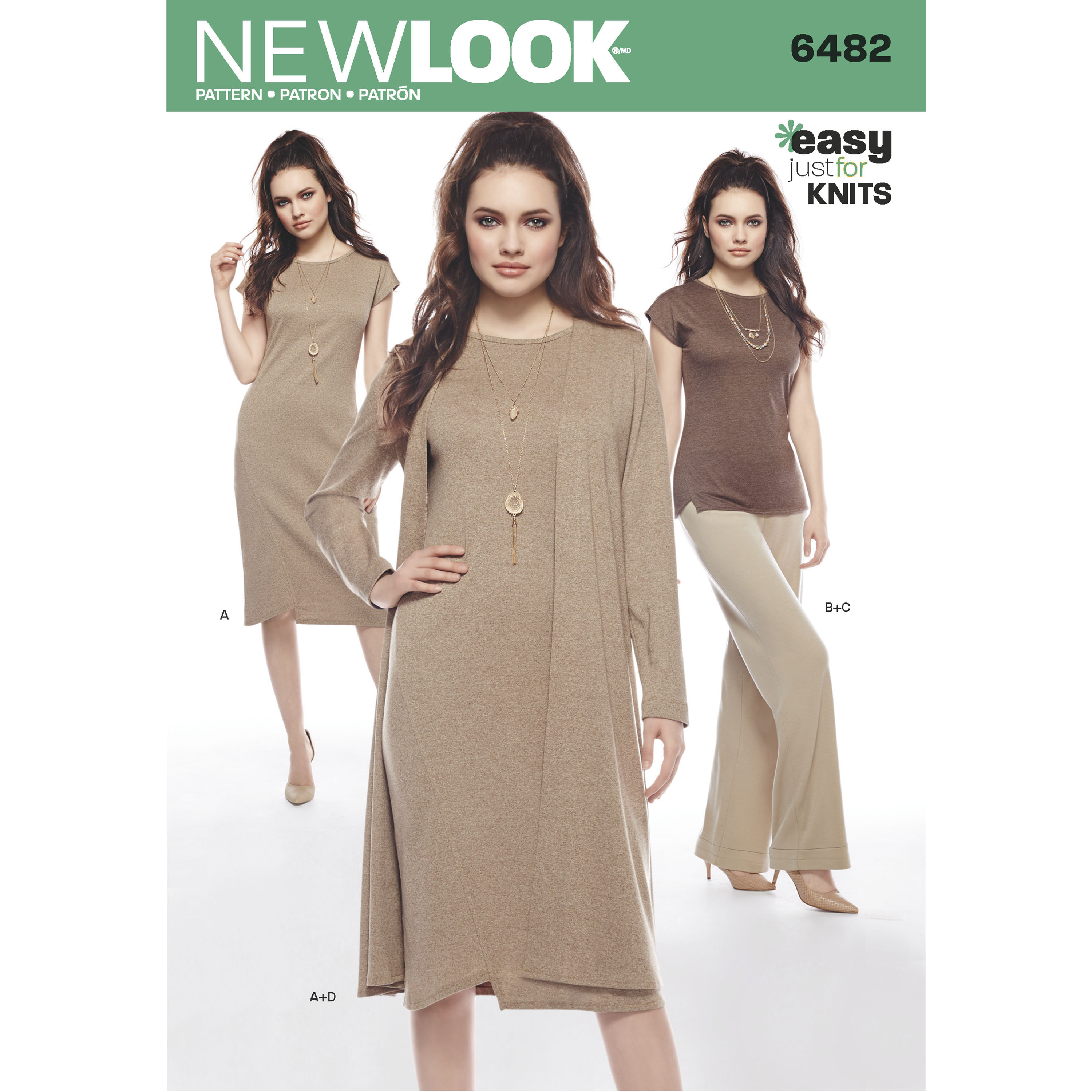 New Look 6482 Misses\' Knit Dress, Tunic, Pants and Duster