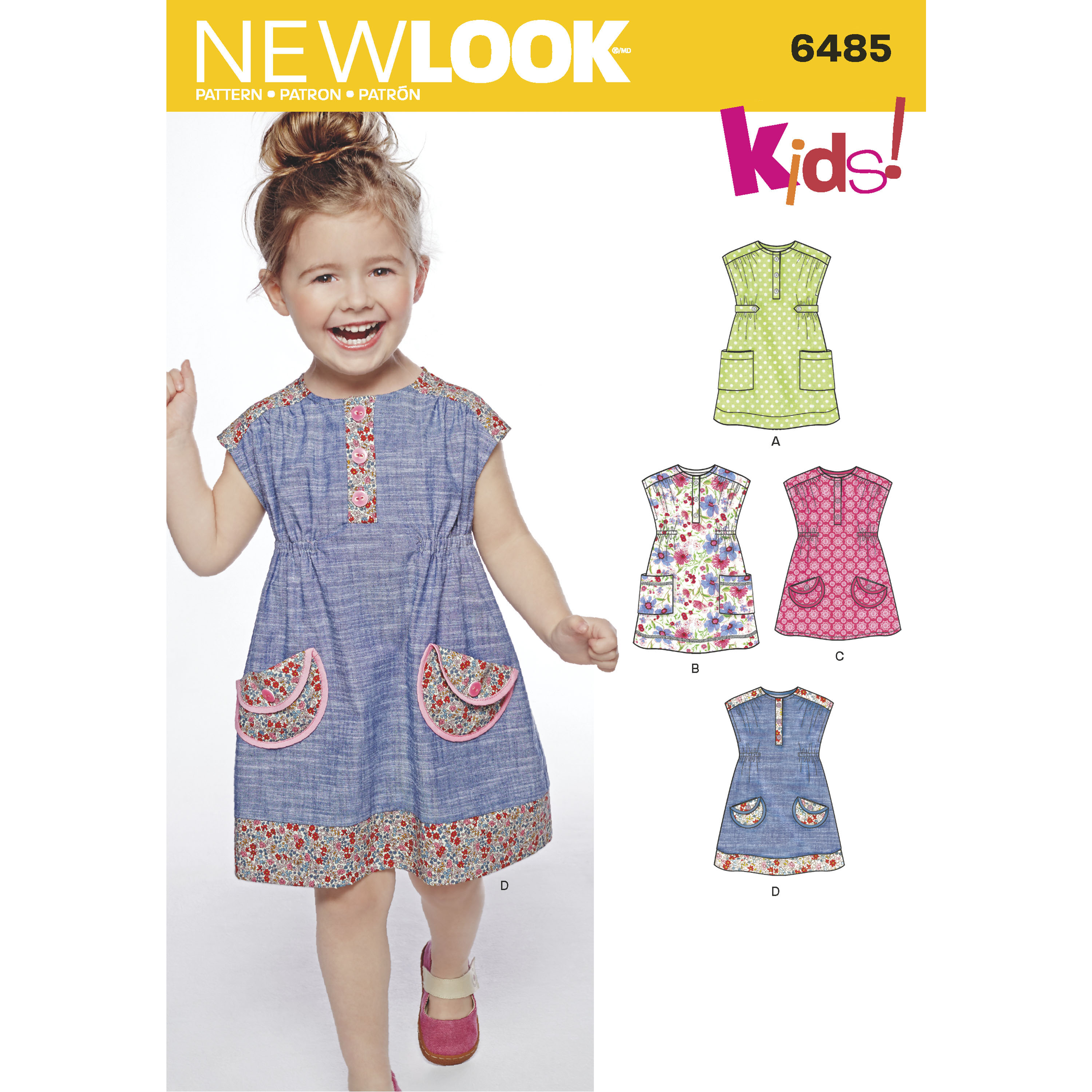 New look 6485 toddlers 39 dress or tunic with fabric variations for Childrens dress fabric