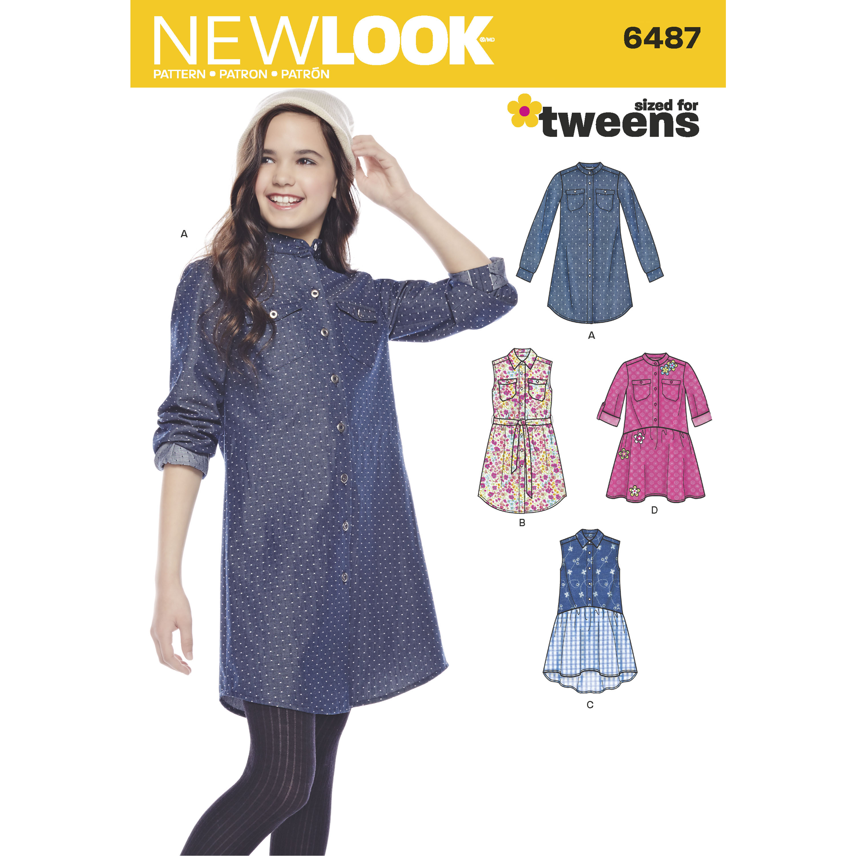 NewLook-6487 New Look Girls Sewing Pattern 6487 Shirt Dresses /& Tie Belt