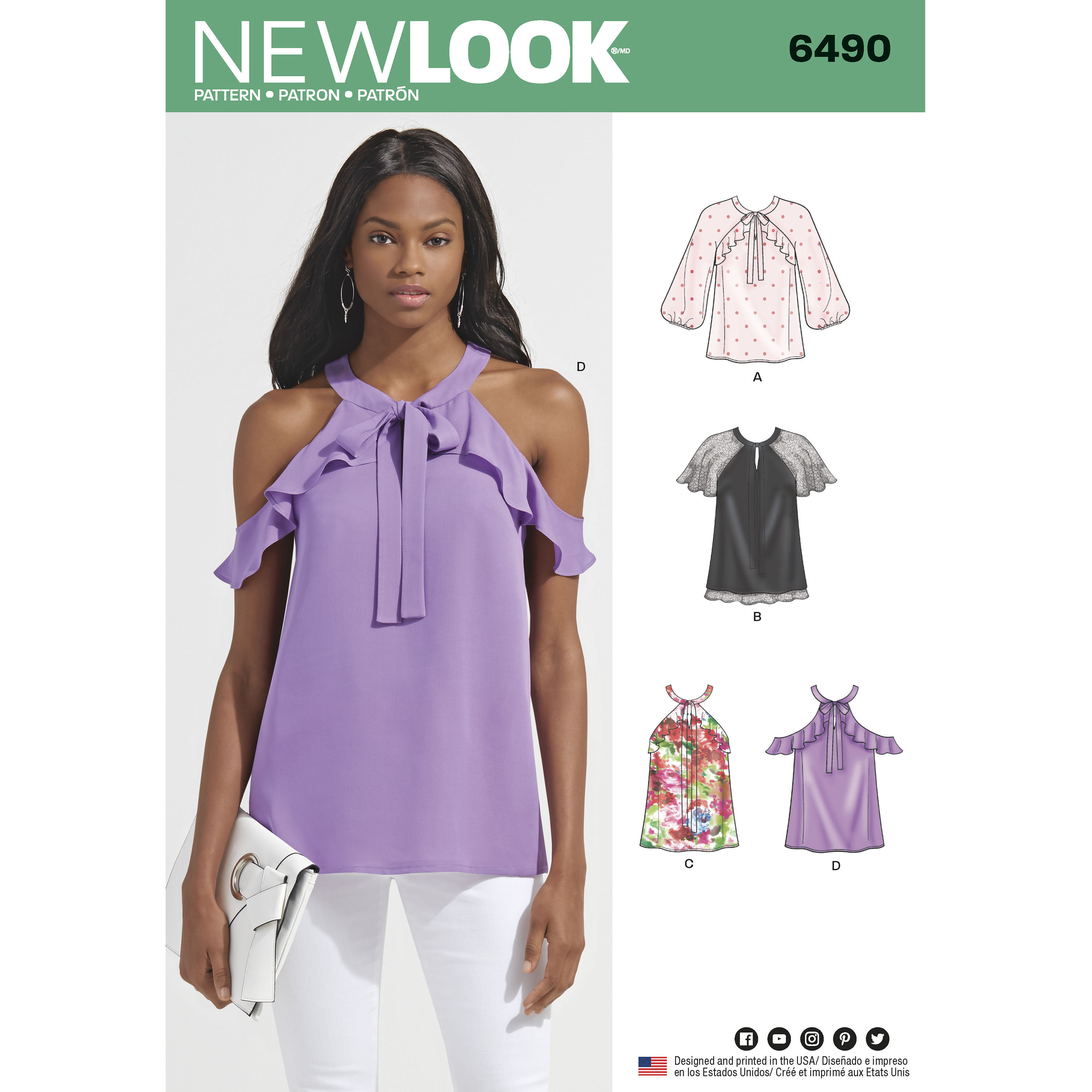 New Look 6490 Misses' Blouses With Sleeve Variations