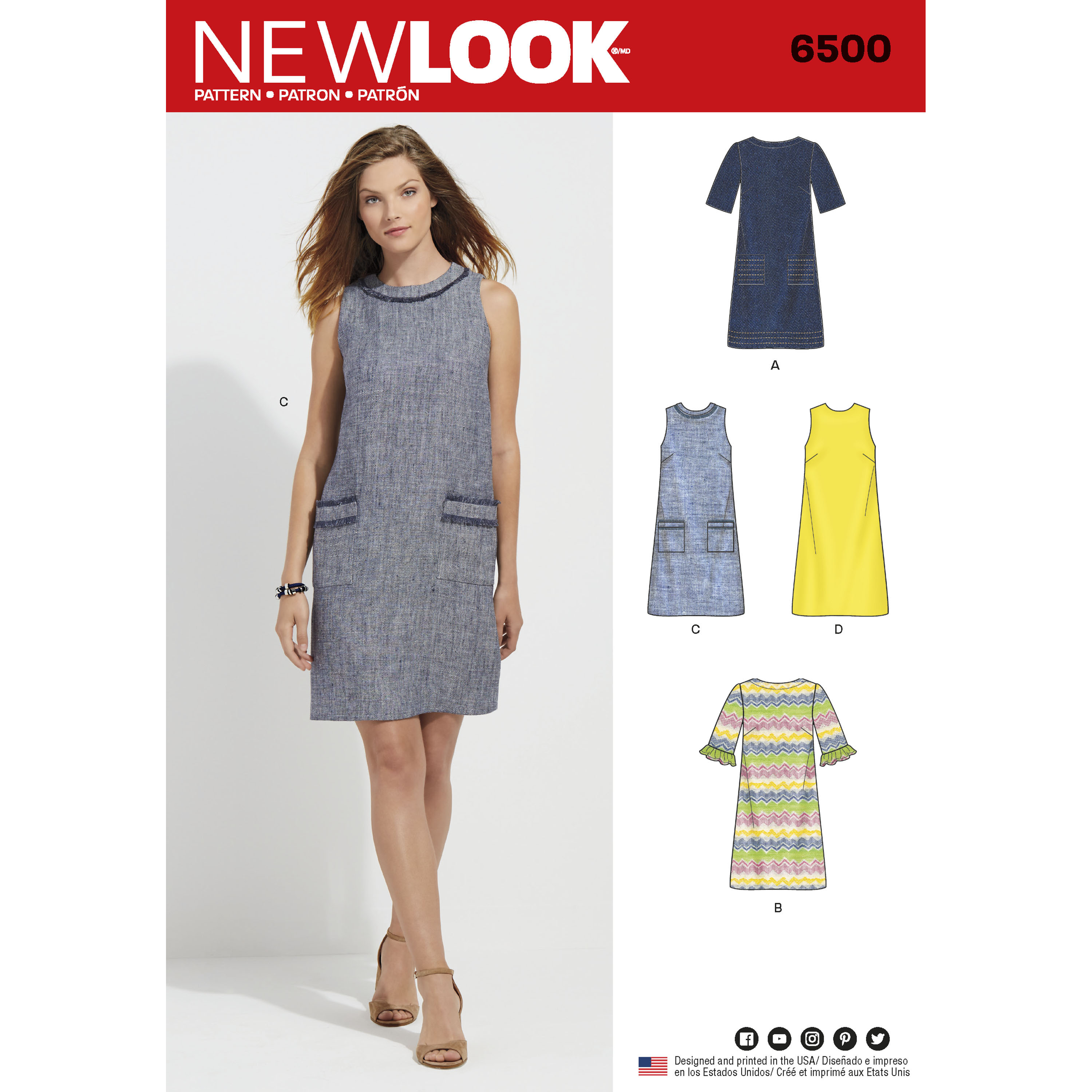 New Look 6500 Misses Dress With Neckline Sleeve And