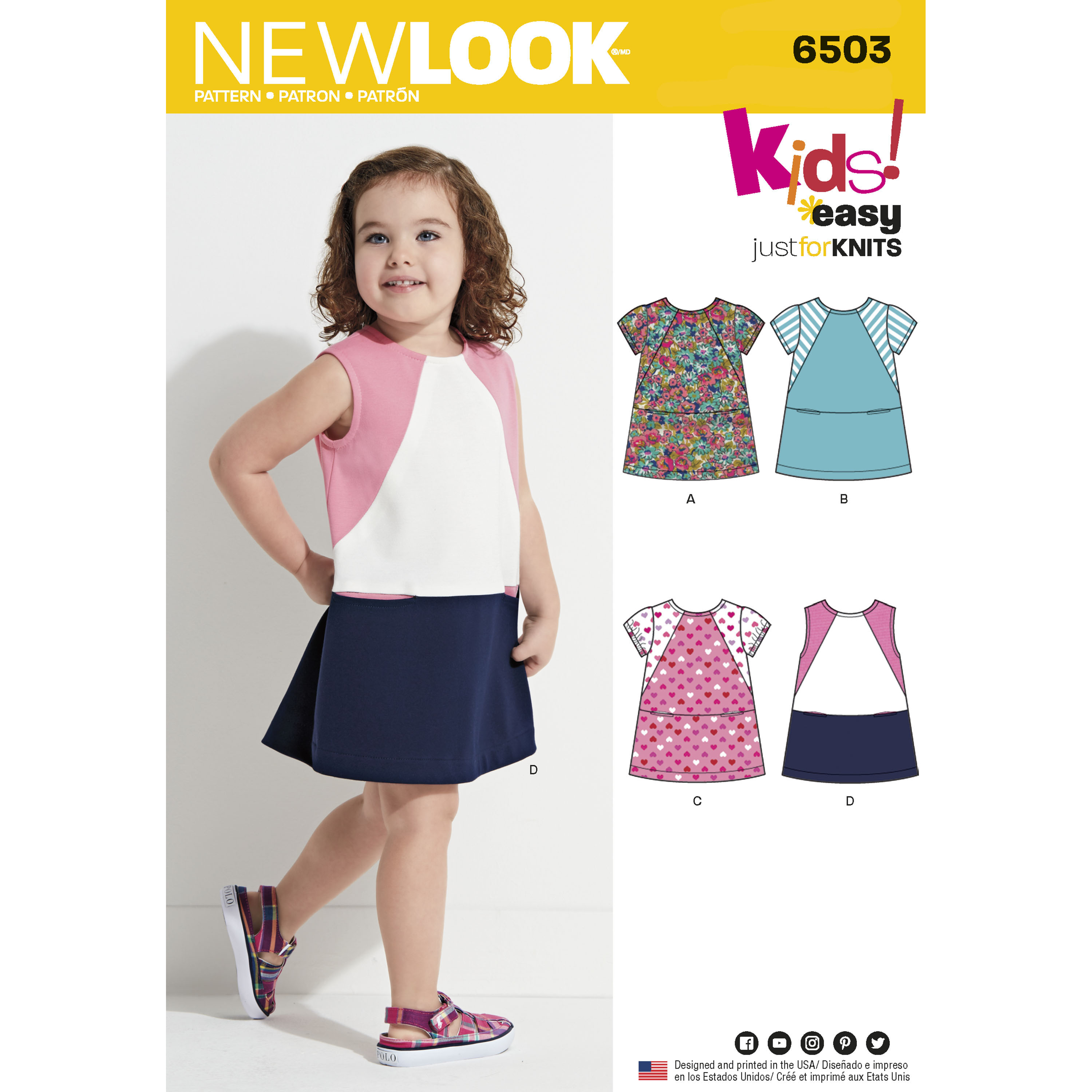 New Look 6503 Toddlers Knit Dress with Sleeve and Fabric Variations