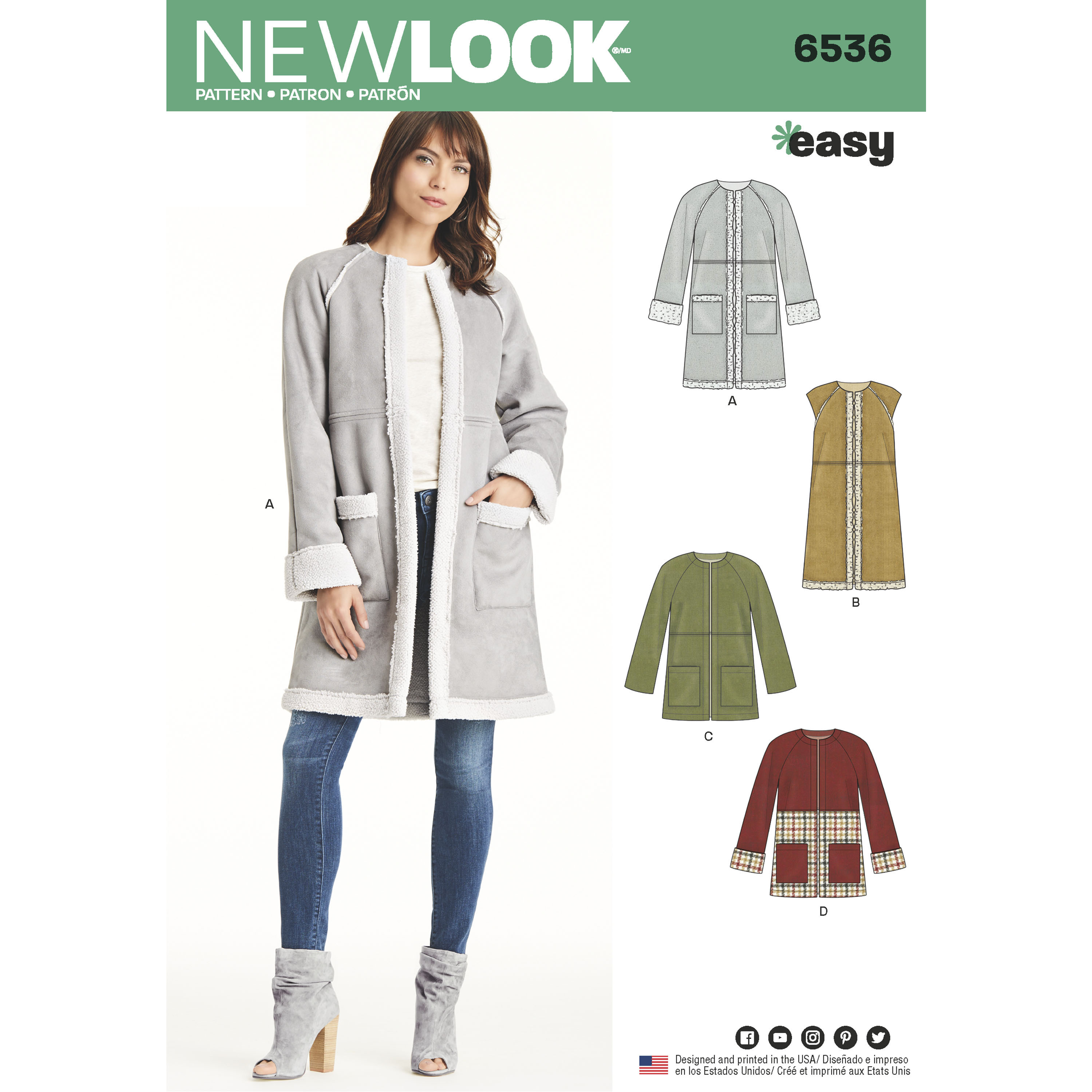 New Look New Look Pattern 6536 Misses\' Easy Coat in Two Lengths