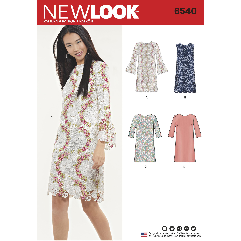 New Look New Look Pattern 6540 Misses\' Shift Dress