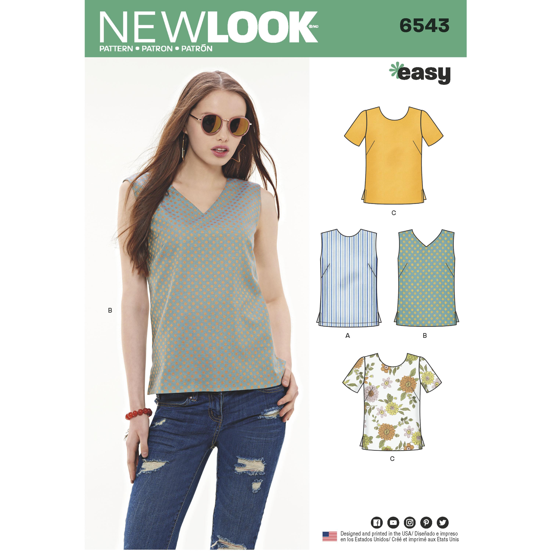New Look New Look Pattern 6543 Misses\' Easy Tops