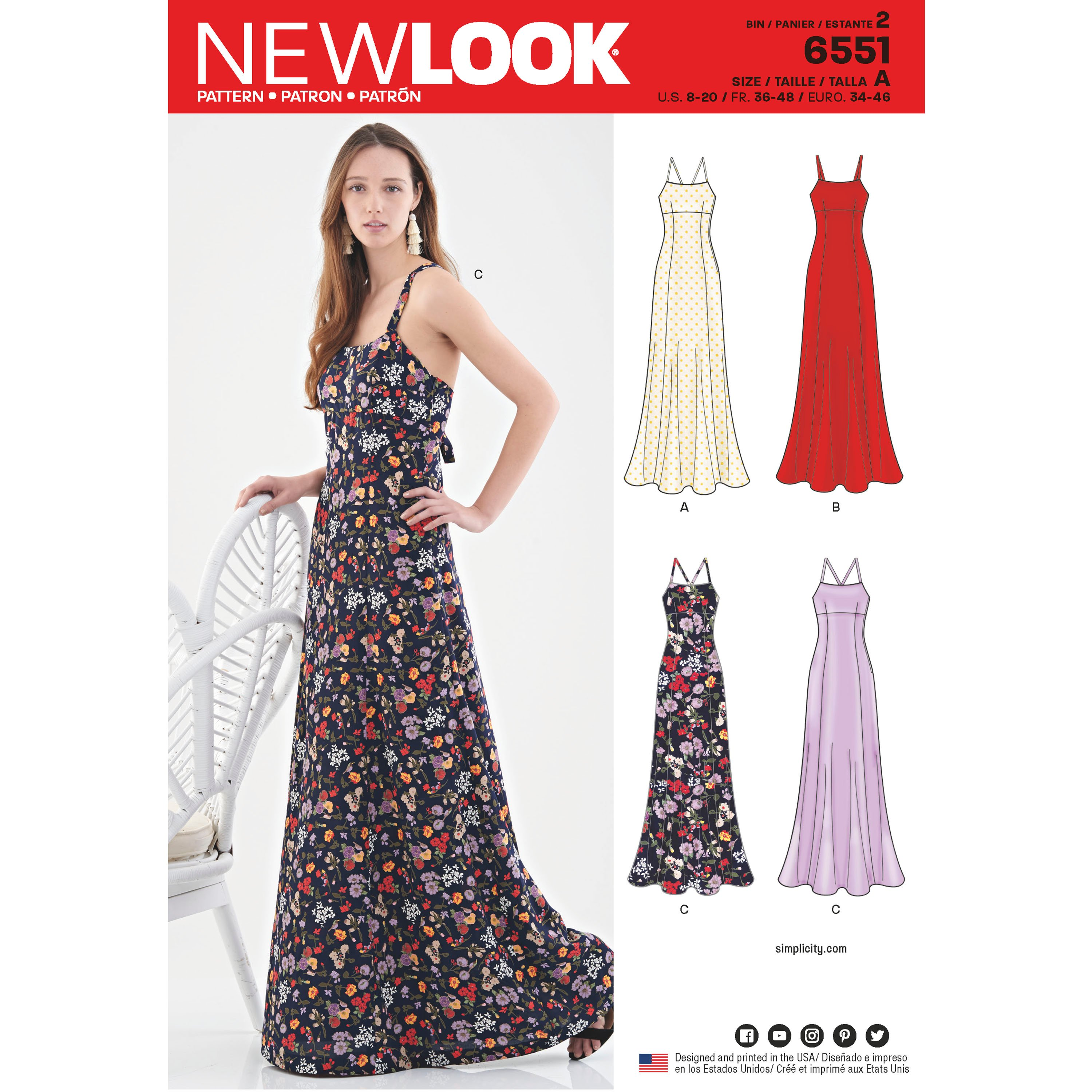 New Look New Look Pattern 6551 Misses\' Gowns