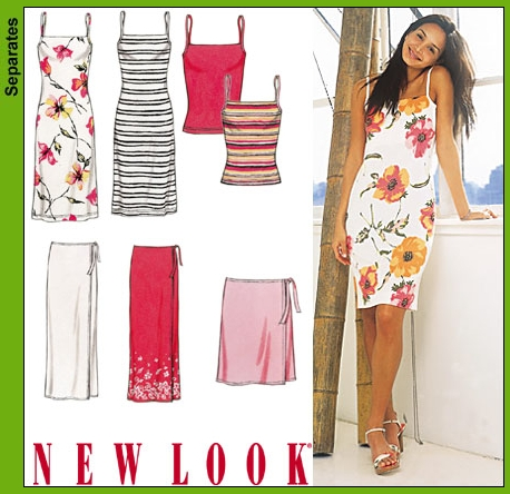 New Look 6178 Misses Wrap Skirt, Knit Tank Top and Dress