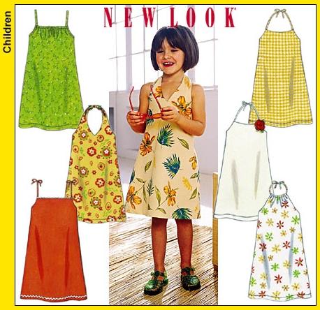 New Look 6195 Childs Sundresses with Shoulder Straps or Halter Neck