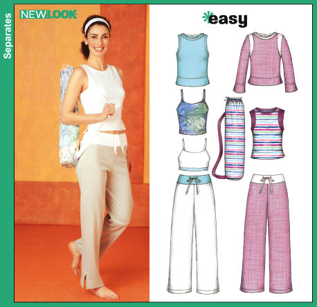 New Look 6265 Misses Knit Tops, Pants and Yoga Mat Tote sewing pattern