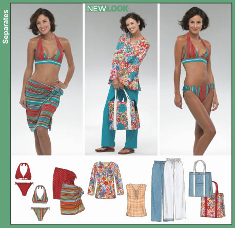 2ffa9f8566 New Look 6357 Misses Swimsuit, Wrap Skirt, Tunic Top, Pants and Tote