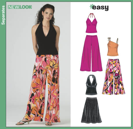 New Look 6383 Misses Knit Tops Pants And Skirt
