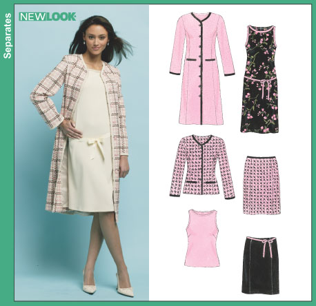 New Look 6413 Misses' Dress, Top, Skirt and Lined Coat or Jacket
