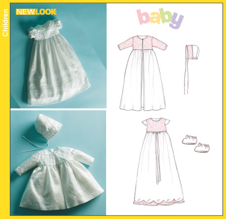 New Look 6418 Babies Christening Gown Coat Bonnet And Booties