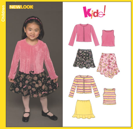 New Look 6450 Childs Skirts And Knit Top And Cardigan