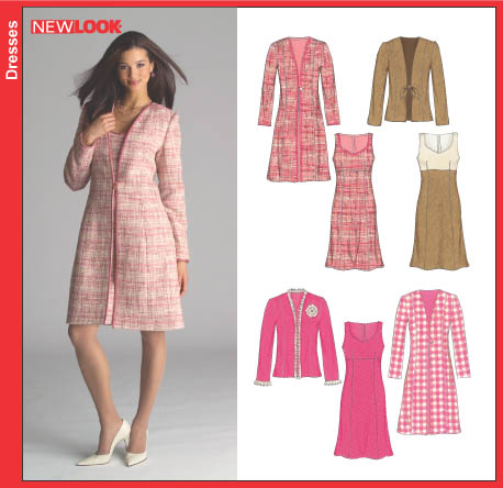 New Look 6508 Misses Dress and Lined Coat or Jacket