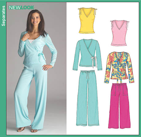 New Look 6521 Misses Pants And Knit Wrap And Tank Tops