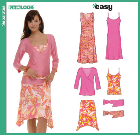 New Look 6571 Misses Knit Dresses, Tank Top, Tunic, Skirt and Belt