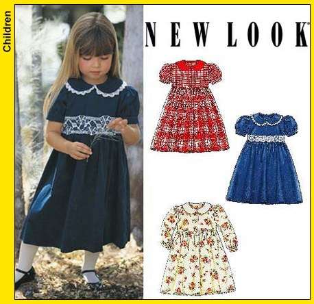New Look 6581 Childs Dress with Long or Short Puffed Sleeves