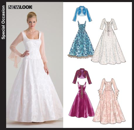 New Look 6614 Misses Bridal or Special Occasion Gowns and Lined Jacket