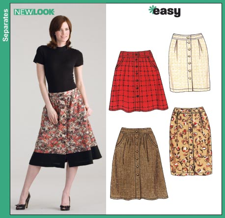 New Look 6625 Misses Slim or Full Button-Front Skirts