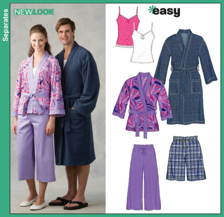 New Look 6657 Unisex Robe Pajama Shorts Misses Only Cropped Pajama Pants Knit Tank Top