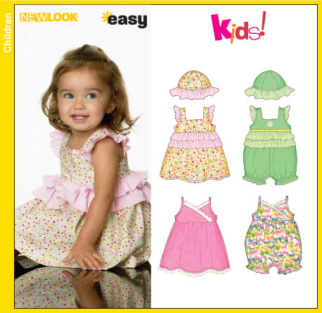 New Look 6687 Babies Dress, Romper and Hat
