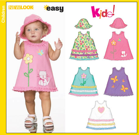 New Look 6692 Babies Dress and Hat