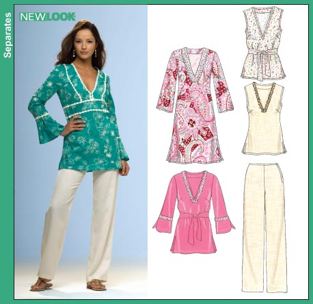 New Look 6715 Misses Caftan or Dress Tunic Top and Pants