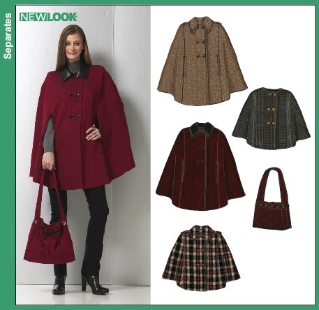 New Look 6756 Misses Capes and Bag