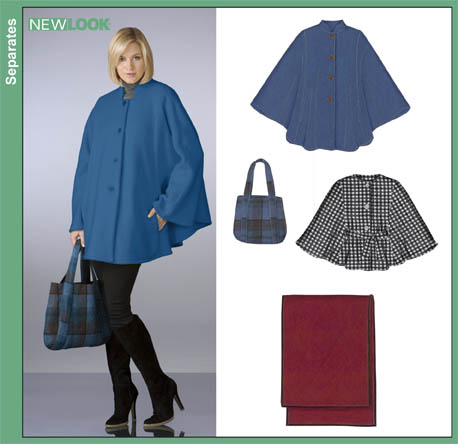 New Look 6833 Misses Capes, Wrap and Bag